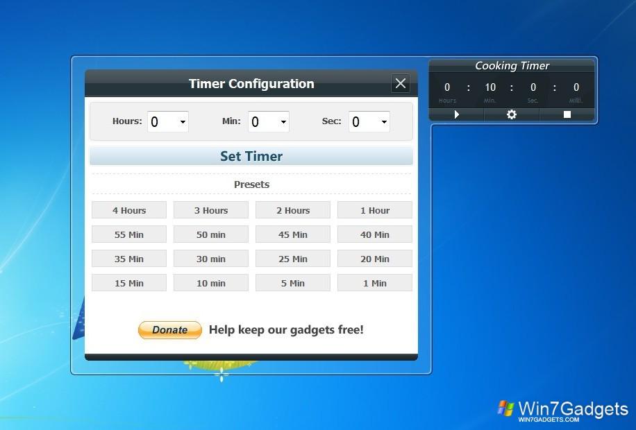 Cooking timer windows 7 desktop gadget
