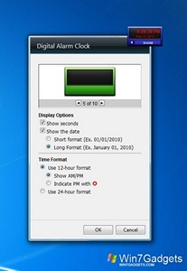 Digital Alarm Clock gadget setup