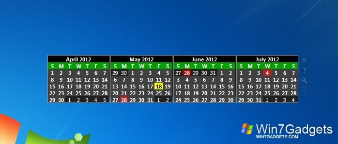 Monthly Calendar Gadget For Windows : Simple calendar windows desktop gadget