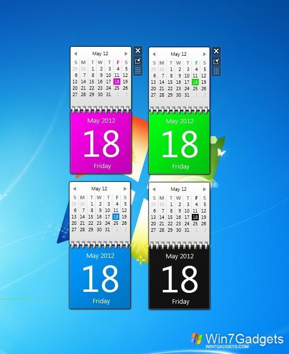 Desktop Calendar Windows 8 : Color calendars windows desktop gadget