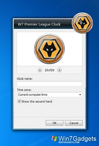 Premier League Clock gadget setup