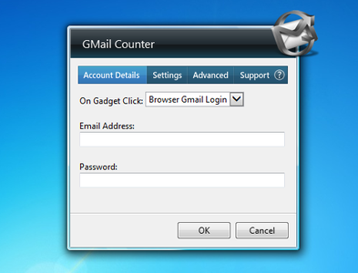 Gmail Counter gadget setup