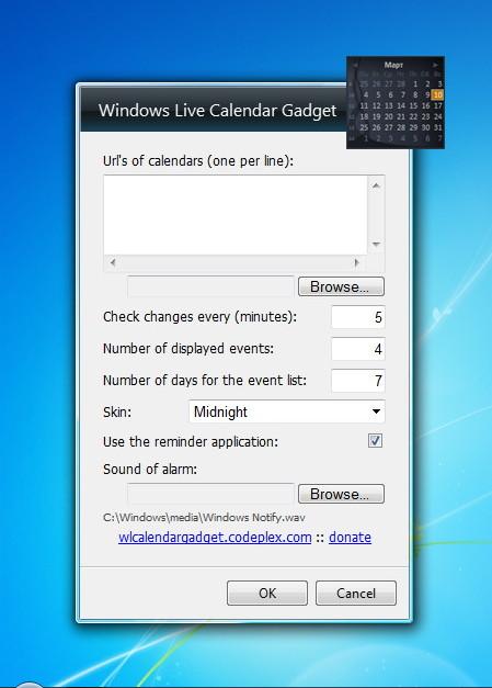 Calendar Planner Desktop Gadget : Windows live calendar gadget beta desktop