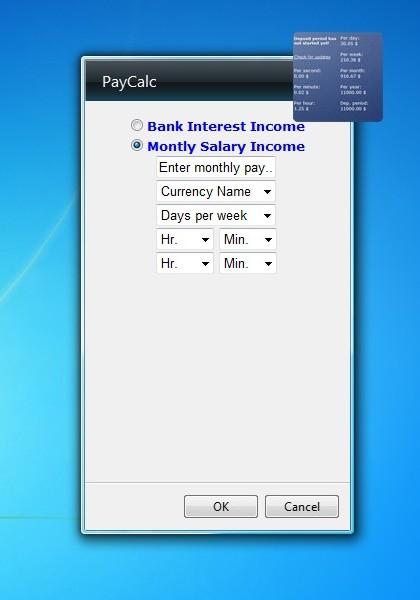 Monthly Calendar Gadget For Windows : Paycalc gadget windows desktop