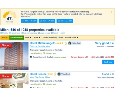 Search through Booking.com hotels win 7 gadget