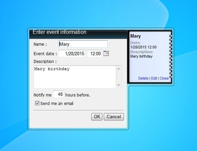 Events Manager win 7 gadget
