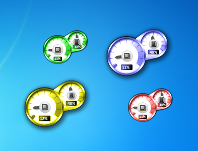 Coloured CPU meter Gadget for Windows 7