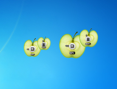 Fruity Apple CPU Meter Windows 7 Gadget