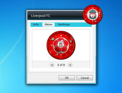 Liverpool FC gadget Clocks settings