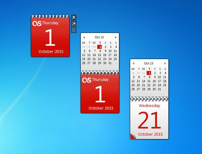 Monthly Calendar Gadget For Windows : Red calendar gadget windows desktop