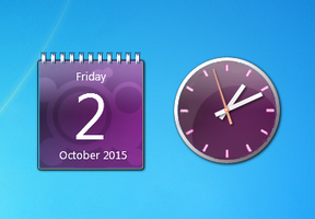 Aero X Purple Clock And Calendar