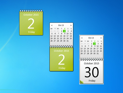 Lime Green Calendar Gadget for Windows 7