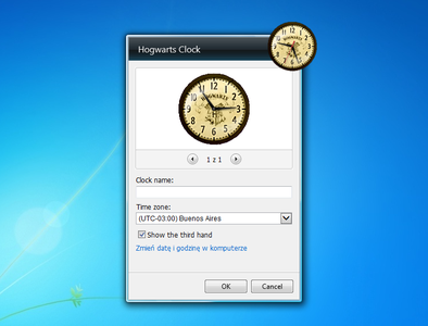 Hogwarts Clock gadget settings