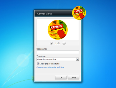Carmex Clock Gadget settings